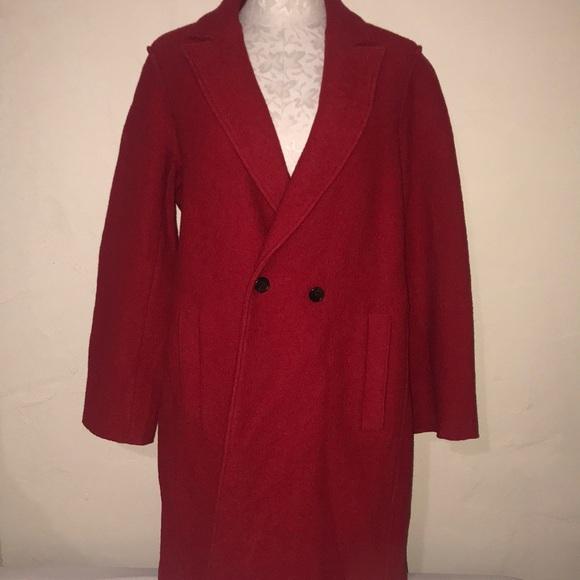 J Crew red Italian boiled wool coat